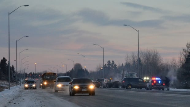 Two SUVs collided on the Thunder Bay Expressway Tuesday morning. One vehicle was then struck by a tractor-trailer.