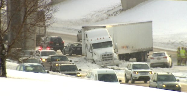 There have been many accidents around the city today because of icy road conditions, like this crash on Deerfoot Trail.