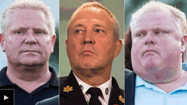 From left to right are Coun. Doug Ford, police chief Bill Blair and Mayor Rob Ford.