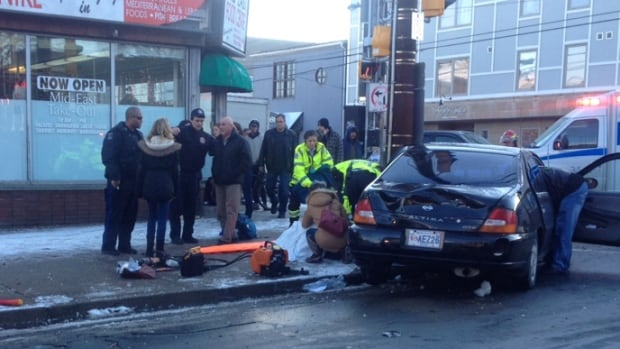 Two pedestrians were seriously hurt at the intersection of Agricola and North Streets on Wednesday.