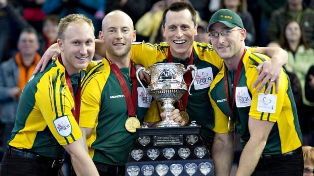 Team Northern Ontario members, from left, Brad Jacobs, Ryan Fry, E.J. Harnden and Ryan Harnden hoist the Brier Tankard after winning the championship draw at the 2013 Tim Hortons Brier in Edmonton, Alta. The CCA announced Tuesday that the 2015 tournament will be held in Calgary.