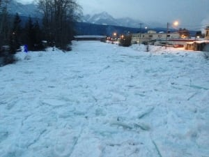 Ice jam - Kicking Horse River at Golden - 3