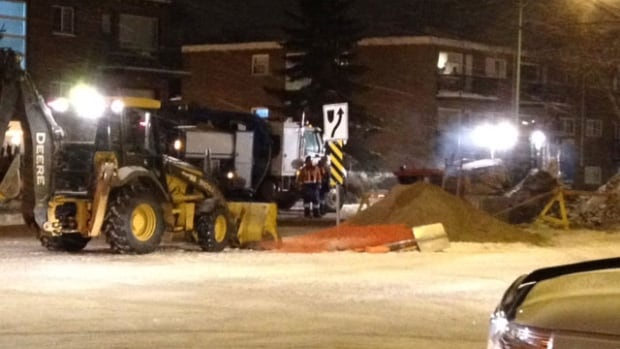 Heavy equipment was brought in so repair crews could reach a natural gas leak on Preston Avenue S. near Main Street.