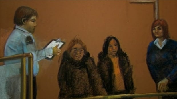 A courtroom drawing of Immacula Eugène and Marie-Margaret Pétimé, two former employees of CHSLD St-Lambert who are accused of, among other things, administering a noxious substance to residents of the long-term care facility.