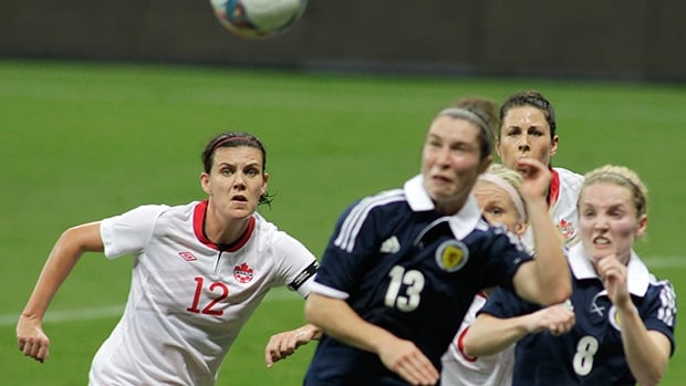 Canada's Christine Sinclair, left, looks on during the match against Scotland at the National Stadium in Brasilia, Brazil, Thursday, Dec. 12, 2013.