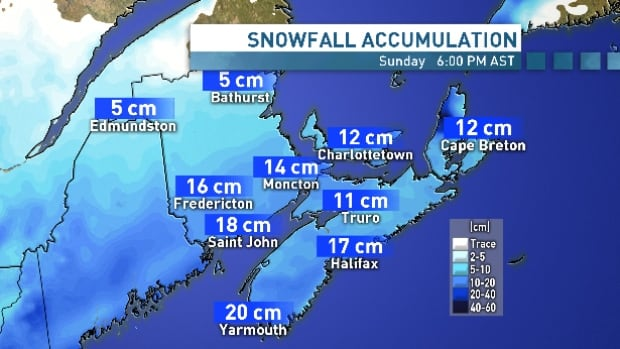The Maritime provinces are expected to receive up to 30 centimetres of snow during Sunday's snowstorm as it tracks northeast from the U.S.