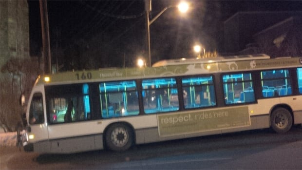 A Thunder Bay Transit bus left parked on Algoma Street while police investigated the incident.