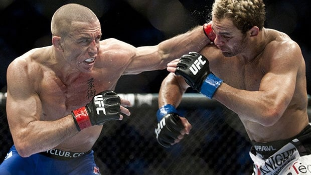 Georges St-Pierre, left, silenced lippy Josh Koscheck to retain his UFC welterweight belt in a December 2010 bout at Montreal's Bell Centre. St-Pierre has since run his streak of successful title defences to nine.