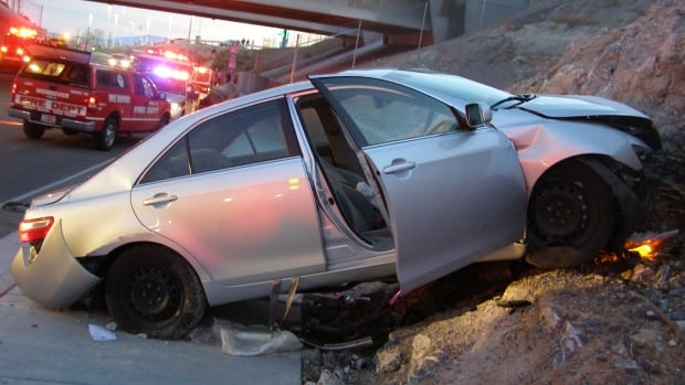 A Toyota Camry is shown after it crashed as it exited Interstate 80 in Wendover, Utah., in this Nov. 5, 2010 file photo released by the Utah Highway Patrol. Toyota is set to begin settlement talks after a four-year legal battle.