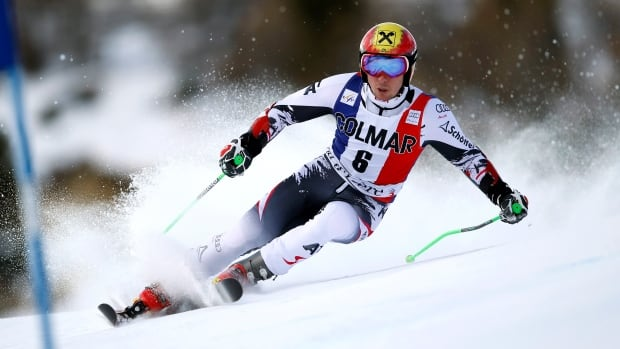 Austria's Marcel Hirscher speeds down the course during the first run, a showing he'd improve upon to win the competition.