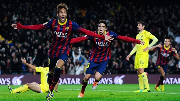 Neymar of FC Barcelona celebrates after scoring his team's second goal during the match against Villarreal CF at Camp Nou on December 14, 2013.