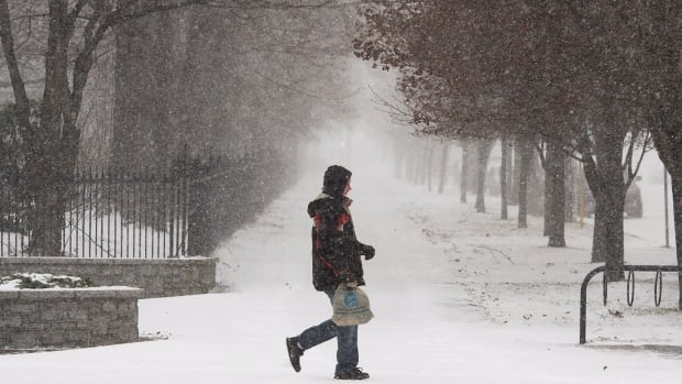 A pedestrian walks through the snow at the start of a winter storm in Halifax. The region is expecting another winter blast on Wednesday.