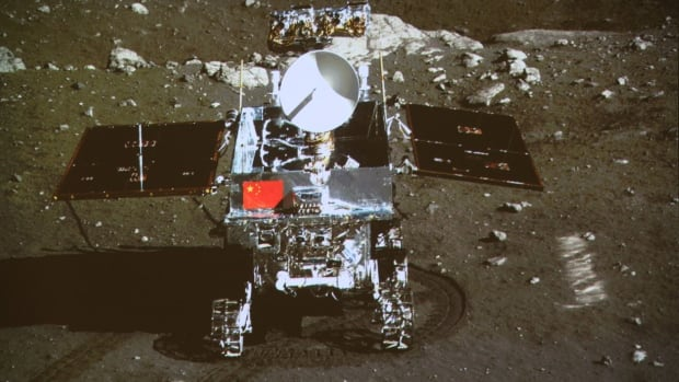 The Yutu or Jade Rabbit lunar rover arrived on the moon in December aboard the Chang'e 3 lander, which took this photo of the rover.
