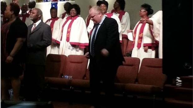 Rob Ford mid-dance at a west Toronto church.