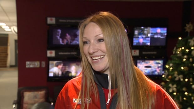 Heather Moyse in the CBC P.E.I. lobby