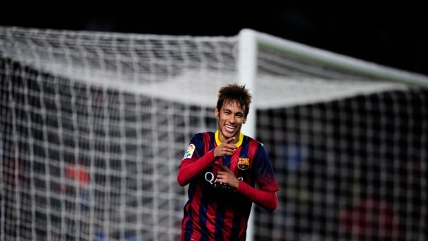 FC Barcelona's Neymar reacts after scoring against Cartagena during a Copa del Rey soccer match at the Camp Nou stadium in Barcelona on Tuesday.