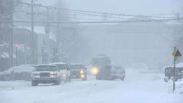 Snow started falling in Charlottetown about 7 a.m., and by 9 a.m. the storm was reducing visibility in the downtown.