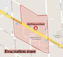 Kingston fire Wednesday evacuation zone crane danger