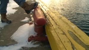 Dwight Spence kicks the wharf
