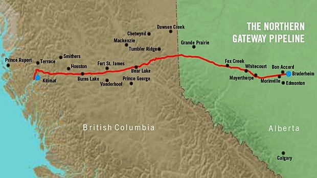 The proposed Enbridge Northern Gateway Pipeline project is intended to move crude oil from Northern Alberta to the Pacific Coast.
