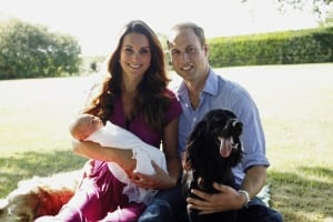 Prince George Will and Kate and Lupo the dog in Berkshire Aug 2013