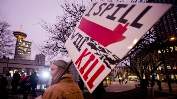 A protester holds a sign during a demonstration against the Enbridge Northern Gateway pipeline in Vancouver last January. The controversial project has pitted the Calgary-based company against environmental groups and several First Nations.