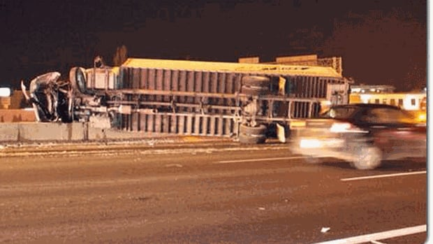 A tractor-trailer crashed through a median on Highway 401 near Whites Road in Pickering. The crash caused major delays for westbound traffic during the morning commute.