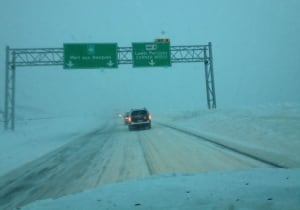 Poor visibility in snowstorm outside Corner Brook