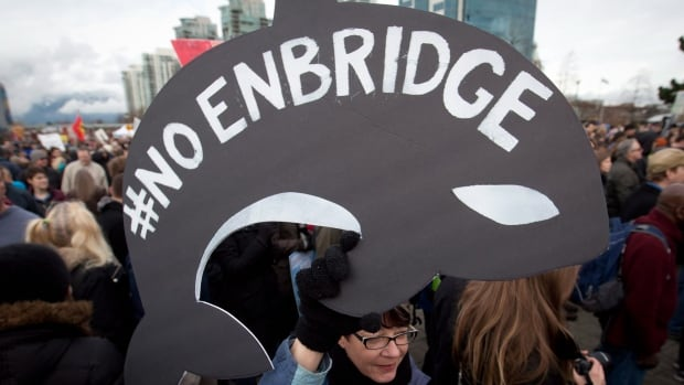 A protester holds a sign shaped like a whale during a November demonstration against the Enbridge Northern Gateway pipeline in Vancouver. An independent three-member panel from the National Energy Board is set to hand down its final report today on the project.