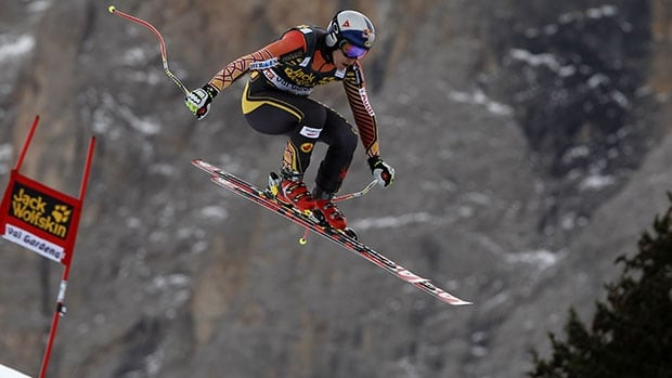 Canadian skier Erik Guay takes a training run for this weekend's World Cup downhill event in Val Gardena, Italy.