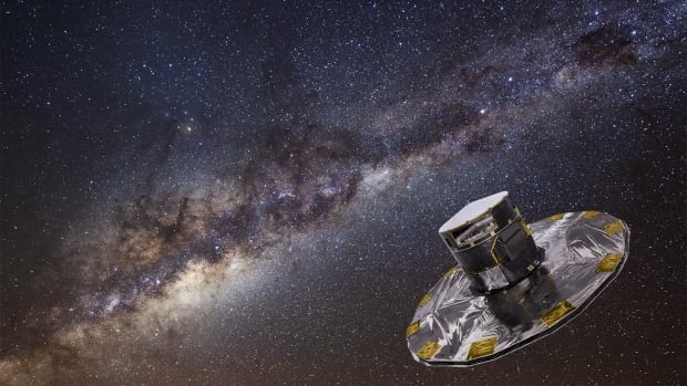 Using its twin telescopes, Gaia, shown in an artist's conception, will study the position, distance, movement, chemical composition and brightness of a billion stars in the galaxy, or roughly one percent of the Milky Way's 100 billion stars.