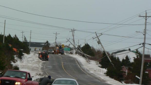 High winds tore down power lines and cracked utility poles in some areas, including in Trepassey on the southern Avalon Peninsula.