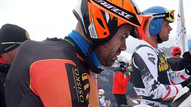 Canada's Jan Hudec prepares for a downhill training session Thursday by wearing an air bag system that FIS is testing for the World Cup circuit.