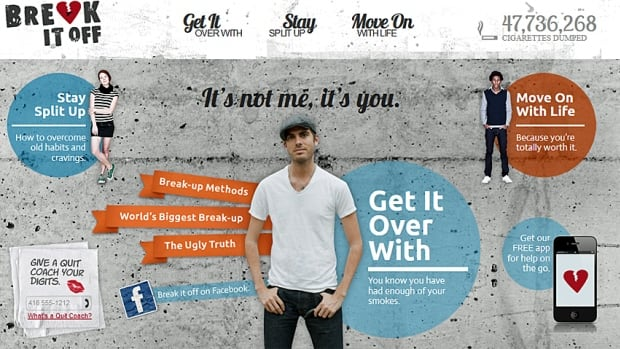 The Canadian Cancer society has a stop smoking app, too. It can be found on its website breakitoff.ca.