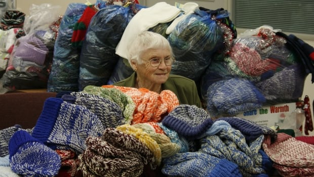 Jane Van Zyll Langhout knitted 1,000 hats for charity this year.