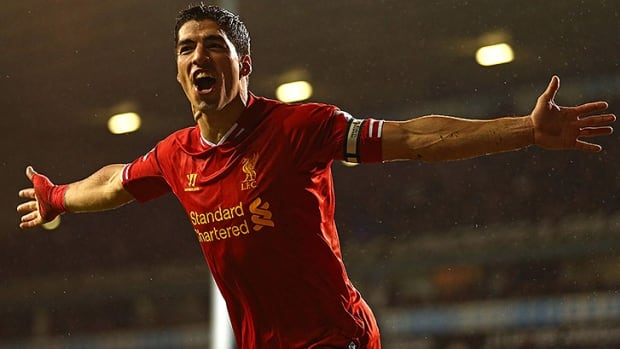 Luis Suarez has helped Liverpool rise to second place in the Premiership, leading the league with 17 goals.