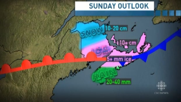 The weather system could bring as much as 40 millimetres of freezing rain to most of Nova Scotia with rain on the south shore. Up to 25 centimetres of snow is expected to fall in some areas of New Brunswick and P.E.I. by Sunday.