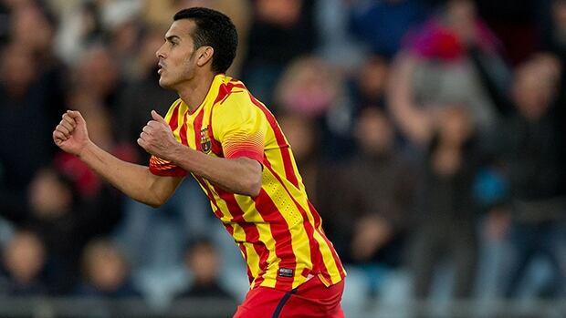 Pedro Rodriguez of FC Barcelona celebrates scoring against Getafe at Coliseum Alfonso Perez on December 22, 2013 in Getafe, Spain.