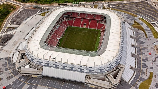 Aerial view of the Arena Pernambuco stadium, in Recife, Brazil, Oct. 2013.