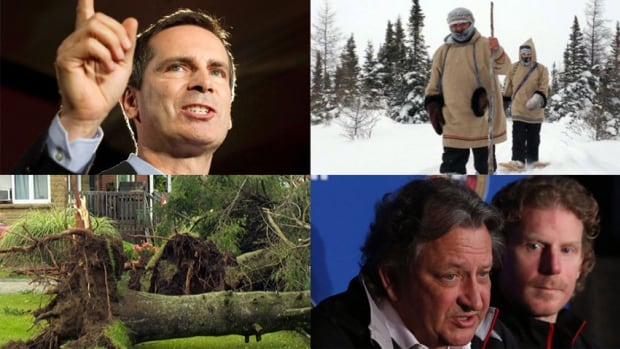 Clockwise from top left: Dalton McGuinty steps down, a group of Cree walkers step forth, Eugene Melnyk tries to dig deeper and trees in Petawawa take a fall.