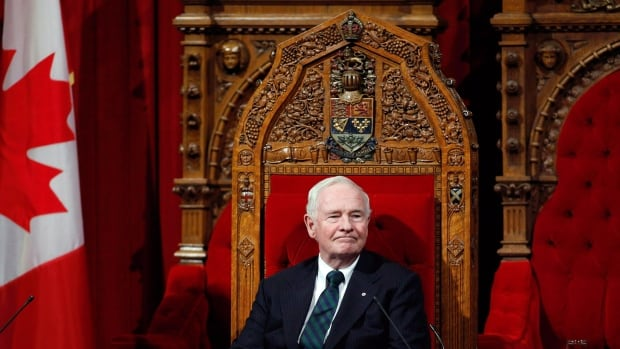 Governor General David Johnston oversees a ceremony giving royal assent to government legislation in the Senate on Parliament Hill in Ottawa on Thursday, December 12, 2013. Johnston is sending a special holiday message to the families of military personnel coping with a recent series of suicides.