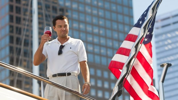 Leonardo DiCaprio as Jordan Belfort in The Wolf of Wall Street. Many film critics have praised his performance.