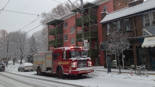 Fire officials say the  blaze broke out in this apartment building early Wednesday morning.