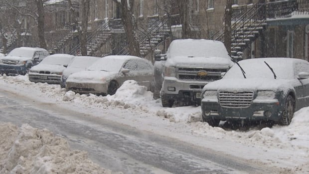 Plateau-Mont-Royal streets are lined with diagonally parked cars, much to the chagrin of tow truck drivers and snowplow operators.