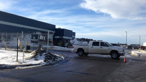 The recycling facility just east of Calgary where a man's body was discovered Friday morning.