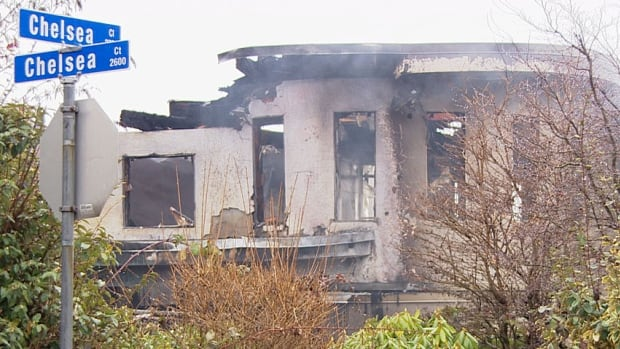 The three-storey home was already engulfed in flames by the time fire crews arrived.