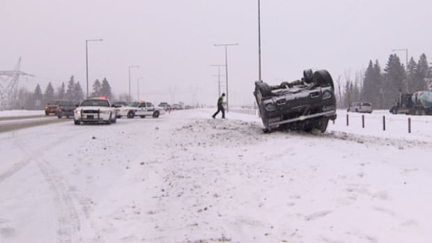 Edmonton police say they've been called out to multiple collisions and at least one rollover on the southwest section of the Anthony Henday Sunday.