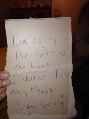 Apology letter for stolen gifts