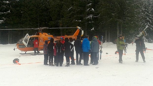 The lost skiers were rescued by helicopter on Monday morning.