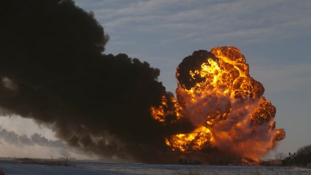 A fireball goes up at the site of an oil train derailment in Casselton, N.D. The train carrying crude oil derailed near Casselton Monday afternoon. Several explosions were reported as some cars on the 1.6 kilometre-long train caught fire.